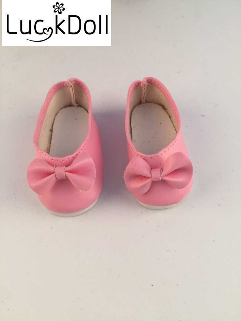 LUCKDOLL Leather Shoes With Bows Fit 14.5inch American Doll WellieWishers Dolls Doll Accessories