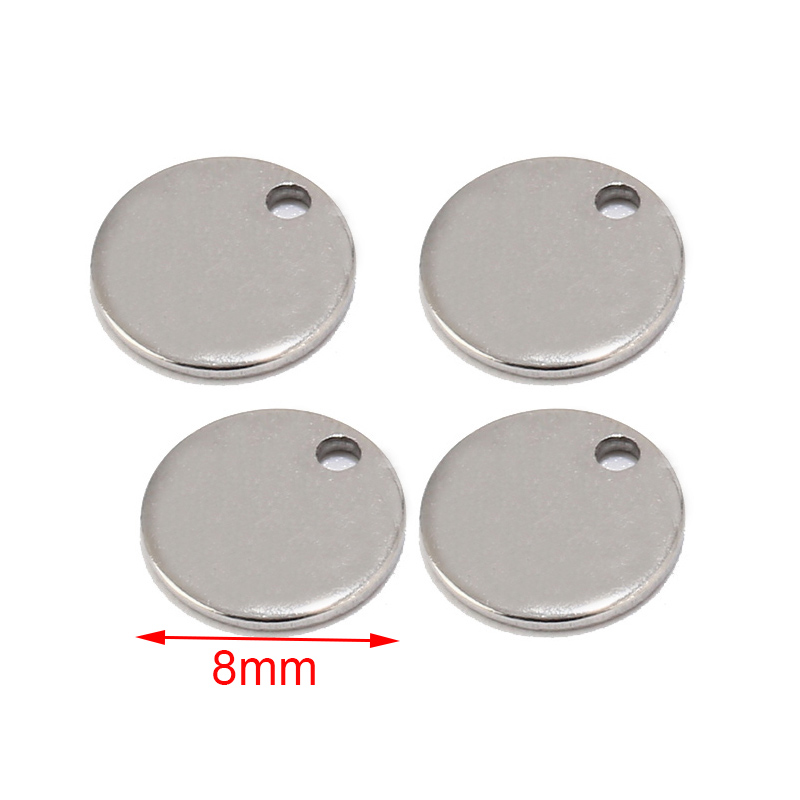 Image 2 - 50pcs Silver/Gold/Rose Gold Stainless Steel Blank Stamping Dog Tags Round Charm Pendants Custom with Any Words 6mm/8mm/10mm-in Charms from Jewelry & Accessories