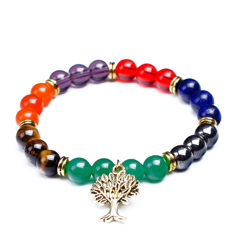 2019 New Trendy Various Natural Stone 8mm Beads Bracelets & Bangles Alloy Tree Charm Jewelry For Women Men Gift Charm Bracelets