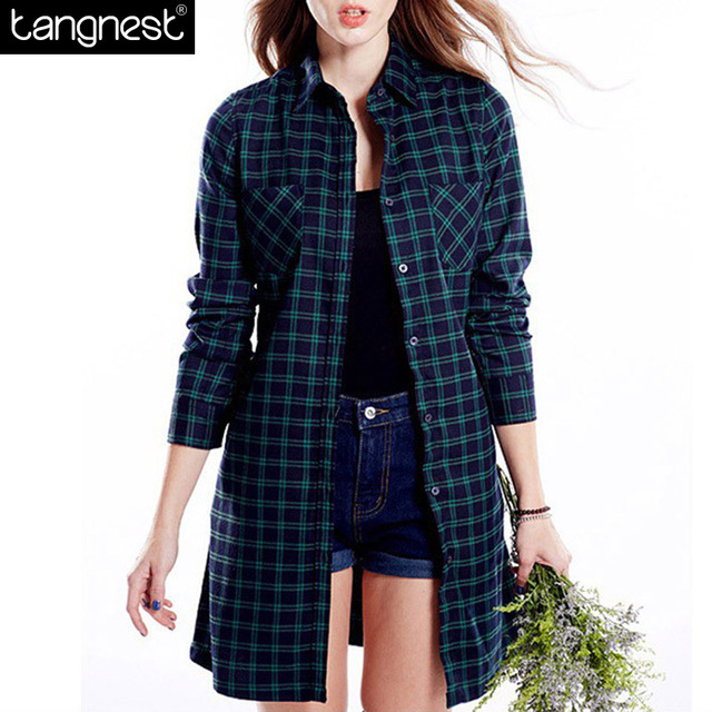 TANGNEST Plaid Long Thin Trench 2017 Spring British Style Lighweight Overcoat Casual Trenches With Belt Plus Size WWF530
