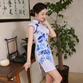 New Arrival Women Short Chinese Mini Dress White Female Chinese Traditional Dress Stand Collar Girl Evening Party Dress Qipao 18