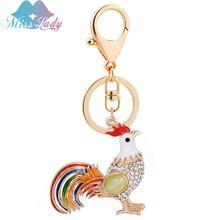 Miss Lady Alloy chicken popular animals Key chain Car Girls fashion bags Trinket Bag Pendant Ornaments Key Chain keyringsMLC4064