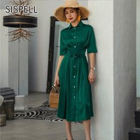 SISPELL Vintage Dress Female Lapel Short Sleeve High Waist With Bandages Summer Loose Plus Size Dresses For Women 2018 Fashion
