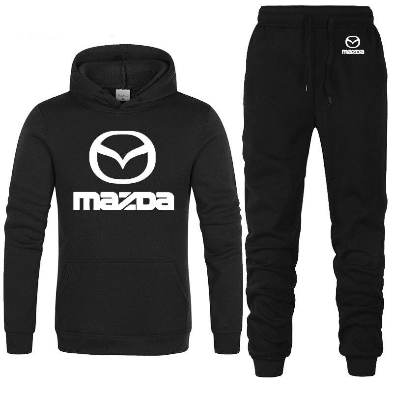 Hoodies Men Mazda Car Logo Printed Unisex Sweatshirt Fashion Men Hoodie Hip Hop Harajuku Casual Fleece Hoodies Pants Suit 2Pcs