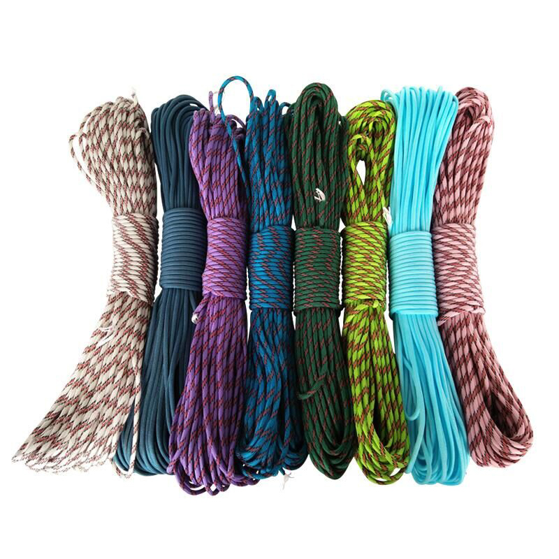 20 Pcs/lot 100FT 550 Paracord Parachute Cord Lanyard Tent Rope Mil Spec Type III 7 Strand  For Hiking Camping Fastshipping