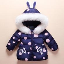 Cute Rabbit Kids Snowsuit White Duck Down Children Skiing Suits Polka Dot Down Jacket+Jumpsuits Baby Girls Winter Coat Outwear