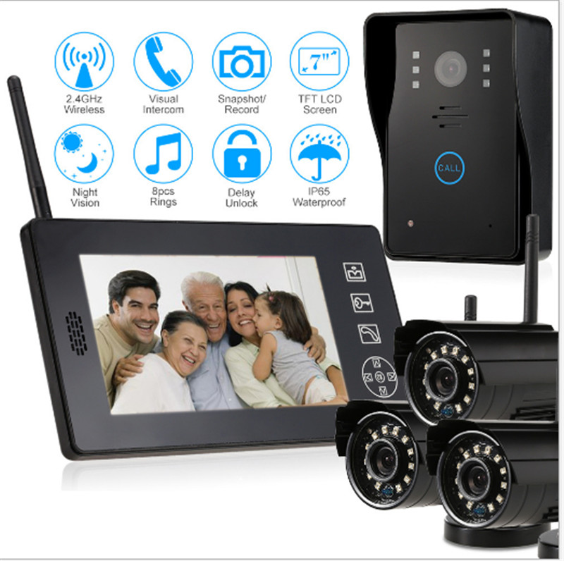 7 Inch 2.4Ghz Wireless 4 Split Monitor   Video Door Phone Auto Photo With 3 Wireless Camera