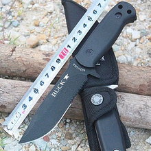 2 Options BUCK Camping Fixed Knives 420 Blade 58HRC Outdoor Survival Hunting Knife Hand Tool Nylon Sheath