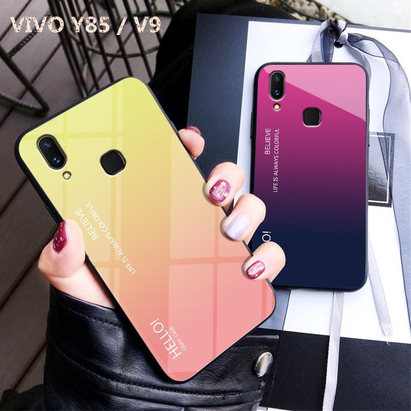 Vivo V9 Case Luxury Glossy Tempered Glass Soft Silicone Frame Shockproof Hard Phone Cover for Vivo Y85 Vivo Z1 Coque 6.3