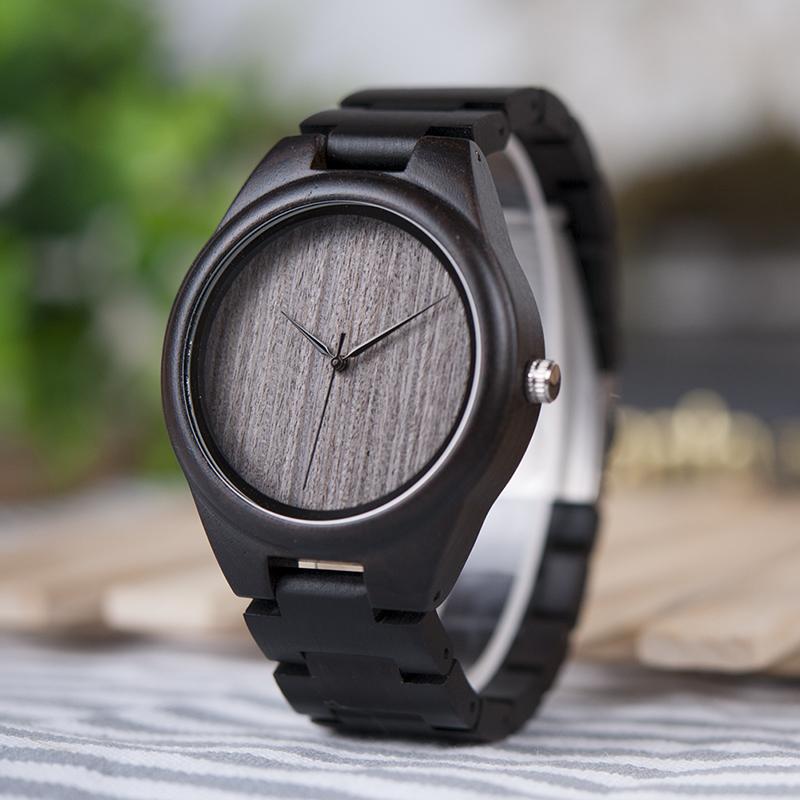 BOBO BIRD Mens Black Ebony Wooden Watches Wood Links Causal Quartz Wrist Watch in Gift Box custom logo 8