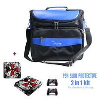 Travel Storage Carry Case Shoulder Bag Game Accessories for PS4 Slim + One Set of PS4 Slim Console Skin Sticker as Free Gift