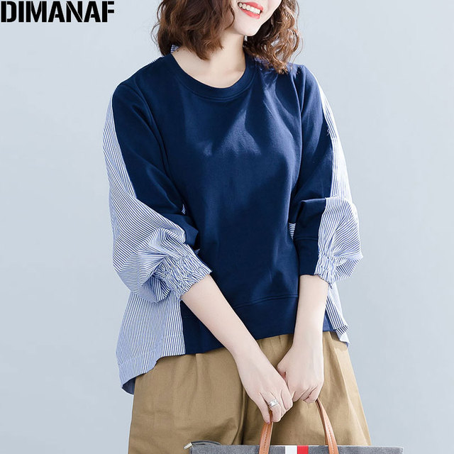 DIMANAF 2018 Autumn Women Blouse Big Size Shirt Female Striped Print Long Sleeve Patchwork Casual Blue Ladies Tops Loose Clothes