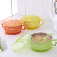 Baby Water Injection Insulation Baby Bowl Cutlery Set Stainless Steel Bowl Spoon Baby Food Supplement Bowl Sucker Bowl