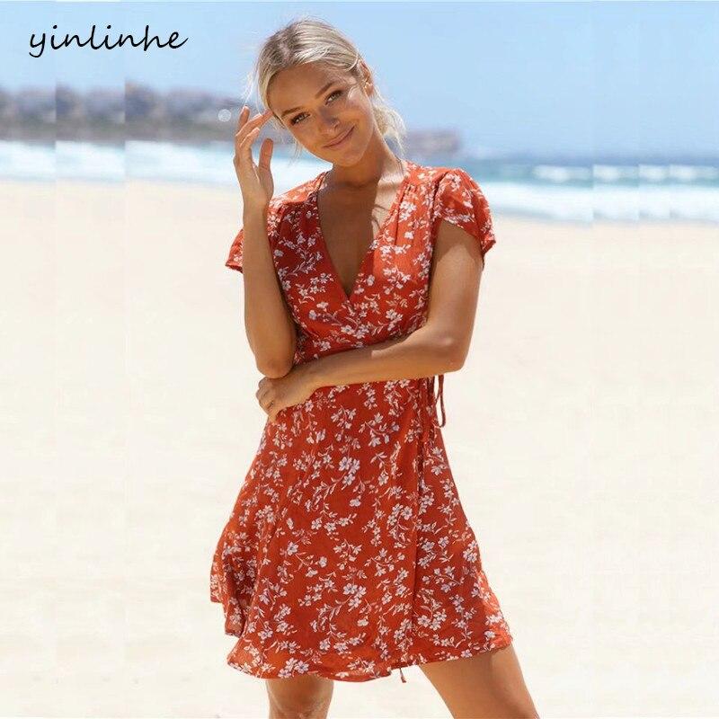 Yinlinhe Red Floral Summer Dress Short Sleeve V Neck Sexy