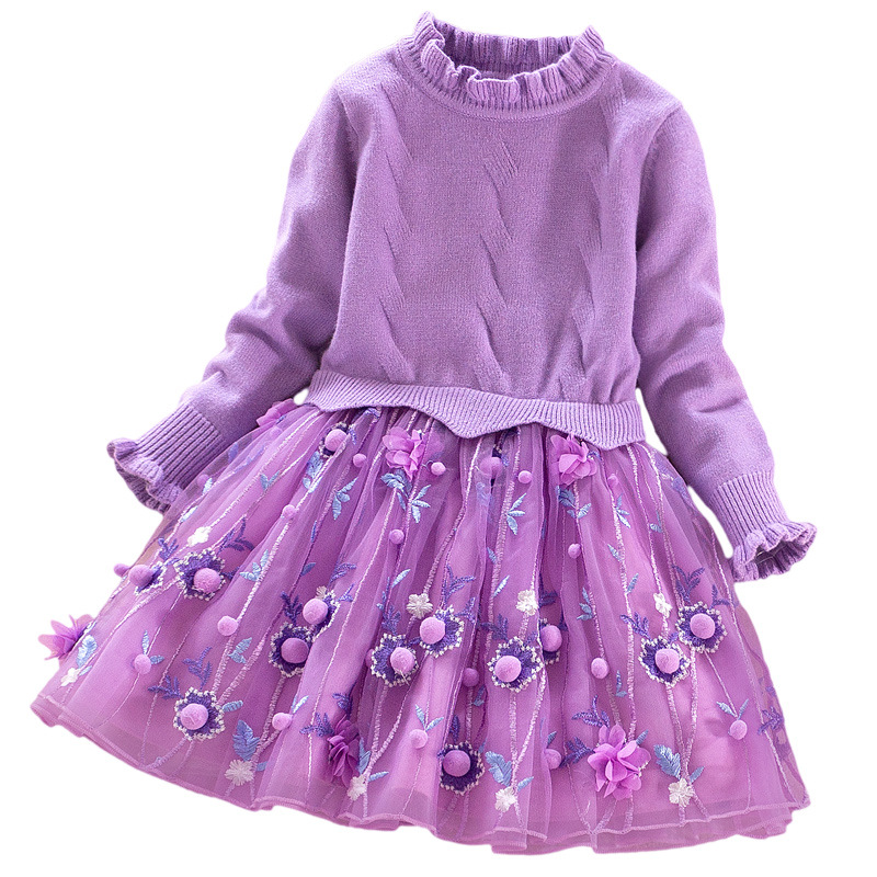 Baby Girls Knitted Clothing Dress Turtleneck Sweater Patchwork Three Layer Mesh Dress with Small Ball Princess dresses все цены