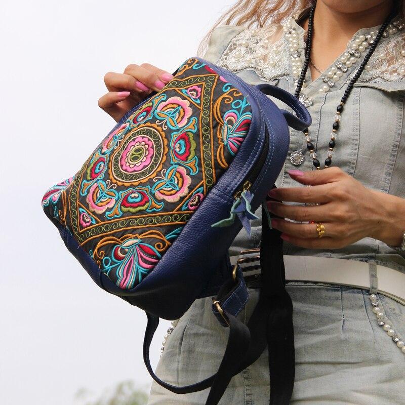 브랜드 샘플 가방 특별 제공 클래식 수 놓은 여자 배낭 정품 가죽 빈티지 배낭 여행-에서백팩부터 수화물 & 가방 의  그룹 3