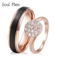 Soul Men 1 Pair Rose Gold Color Wedding Band 6mm Black for Men Cubic Zirconia Rings for Women Couples Promised Rings Set