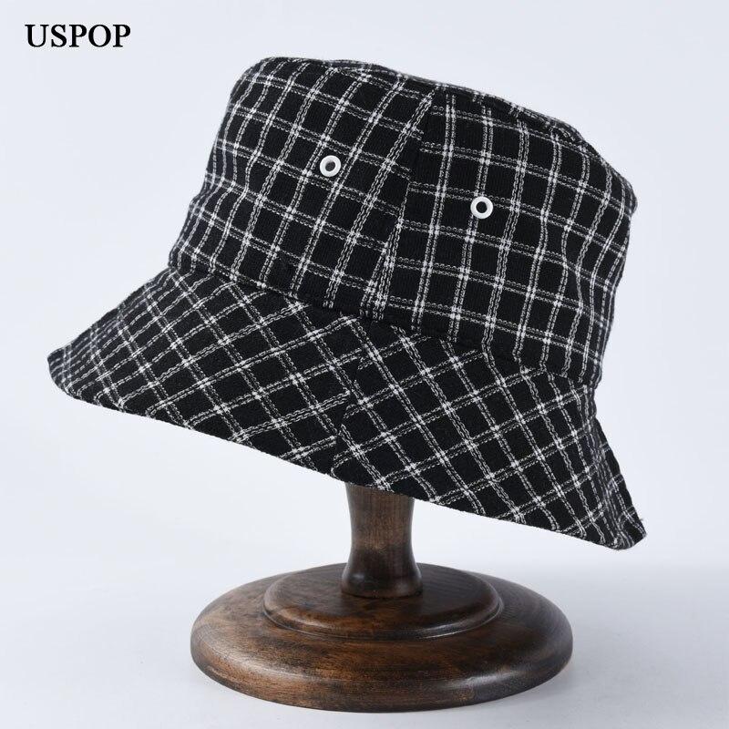 USPOP 2019 autumn New Women plaid bucket hats fashion couple wool collapsible sun hat