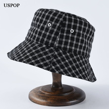 USPOP 2019 autumn New Women plaid bucket hats fashion couple wool collapsible sun hat