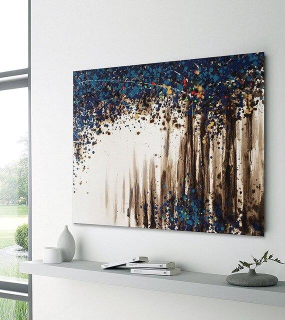 Handgemaltes Modernes Abstraktes lila Öl Paitning Wandkunst blau ...