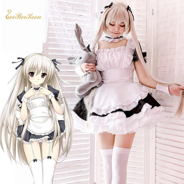 aa0fd6e152 Halloween Cosplay Anime Kasugano Sora Dress Black Lolita Dress Uniform Maid  Cute Girls Sexy Lolita Maid