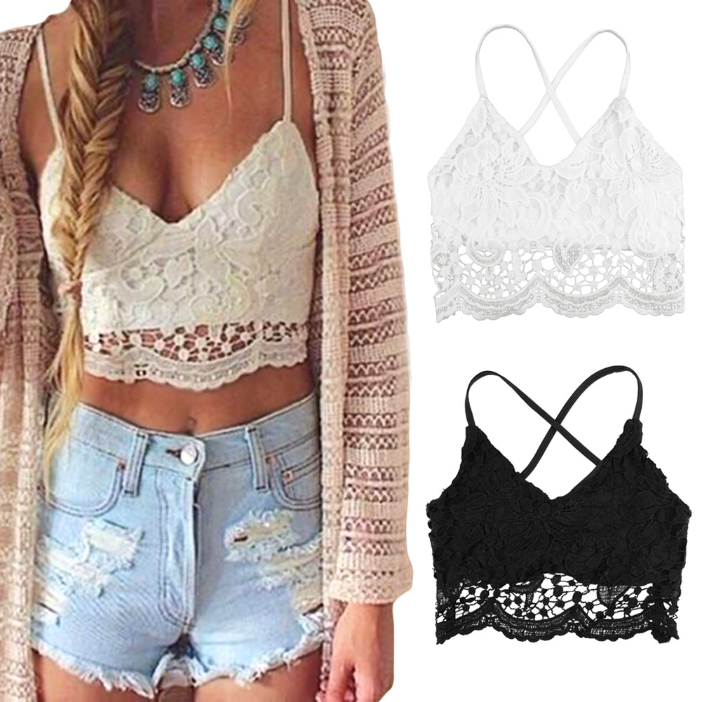 2019 Summer <font><b>Crochet</b></font> Lace <font><b>top</b></font> cropped for Women <font><b>Crop</b></font> <font><b>Top</b></font> Plus Size 3XL 5XL <font><b>Sexy</b></font> V Neck Spaghetti Strap Backless Camisole Bralette image