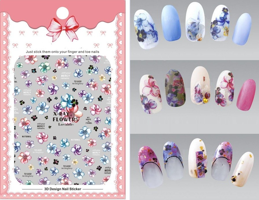 1 Sheet Pink Flower 3D Nail Art Transfer Stickers Nail Designs ...