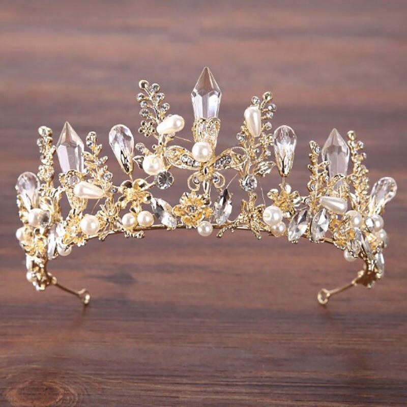 Trendy Silver Crystal Wedding Queen Crown Hair Jewelry Plated Rhinestones Tiaras Hairwear for Women Bride Wedding Accessories