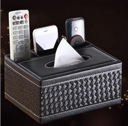 New Multifunction Creative Rectangle PU Leather Tissue Box TV Remote Controller Holder Home Office Automotive BS