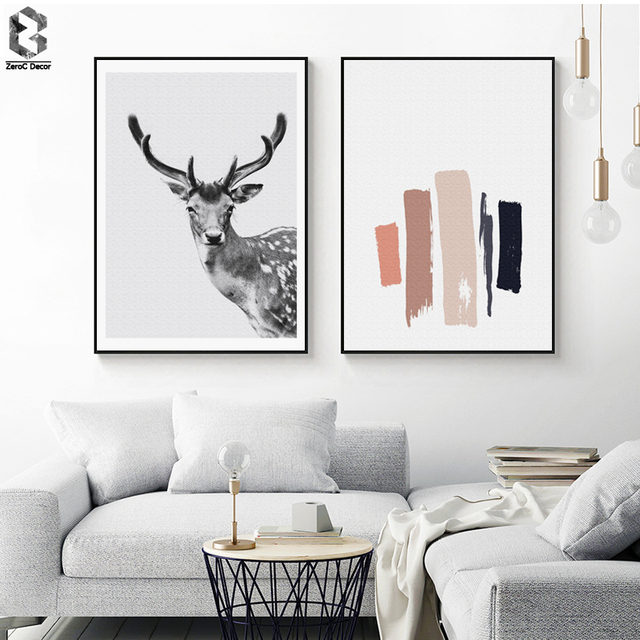 Nordic Canvas Posters And Prints Wall Art Black White Deer Painting Pictures For Home Decoration