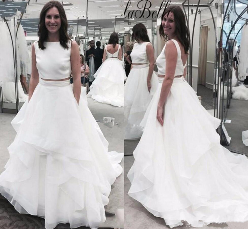 Cheap 2 Piece Wedding Dresses: Cheap Price Two Pieces White Tiered Satin Wedding Dresses