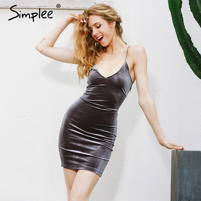 Simplee Lace up velvet vintage women dress Backless short party sexy dress retro midi dress Pencil skater bodycon dress evening