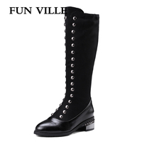 FUN VILLE New winter Fashion Women knee high Boots Warm boots for woman Thick High heels Boots Sexy Female shoes Bid size 34 45