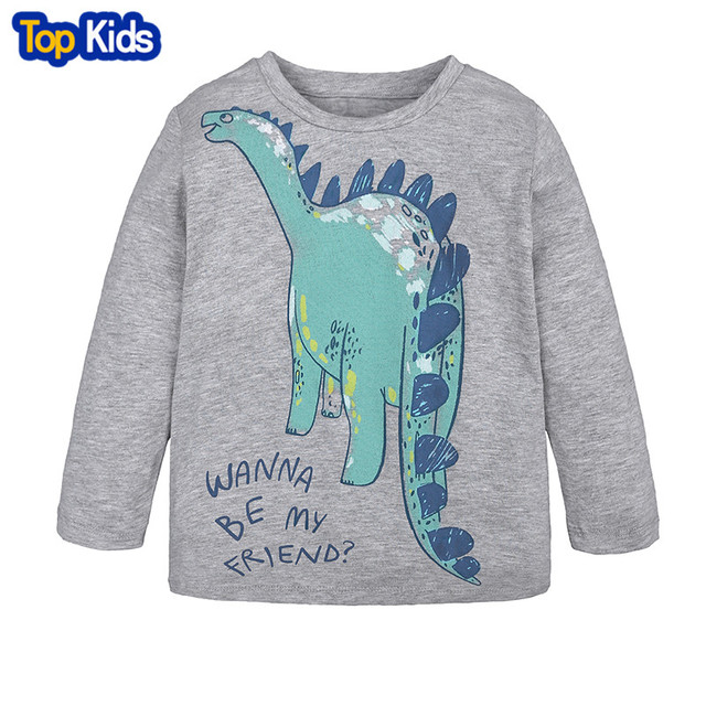 dfc850429a New Boys Girls Dinosaur Cartoon Long Sleeve Cotton T Shirts Boys clothes  Children Printed Tees Kids T Shirts Tops 1-6Y MBT078