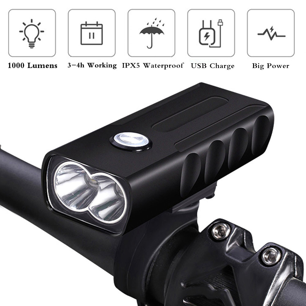 New USB Rechargeable XM-L T6 LED Bike Bicycle Front Head light Flashlight Torch Handlebar Lamp Built-in Battery newboler 7000lumen xm l t6 led bike light usb bicycle lights rechargeable lamp torch flashlight cycling accessories