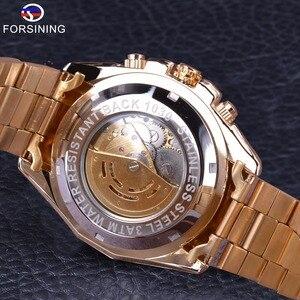 Image 5 - Forsining 2017 新コレクション透明ケースゴールデンステンレス鋼スケルトンの高級デザインメンズ腕時計トップブランド腕時計自動