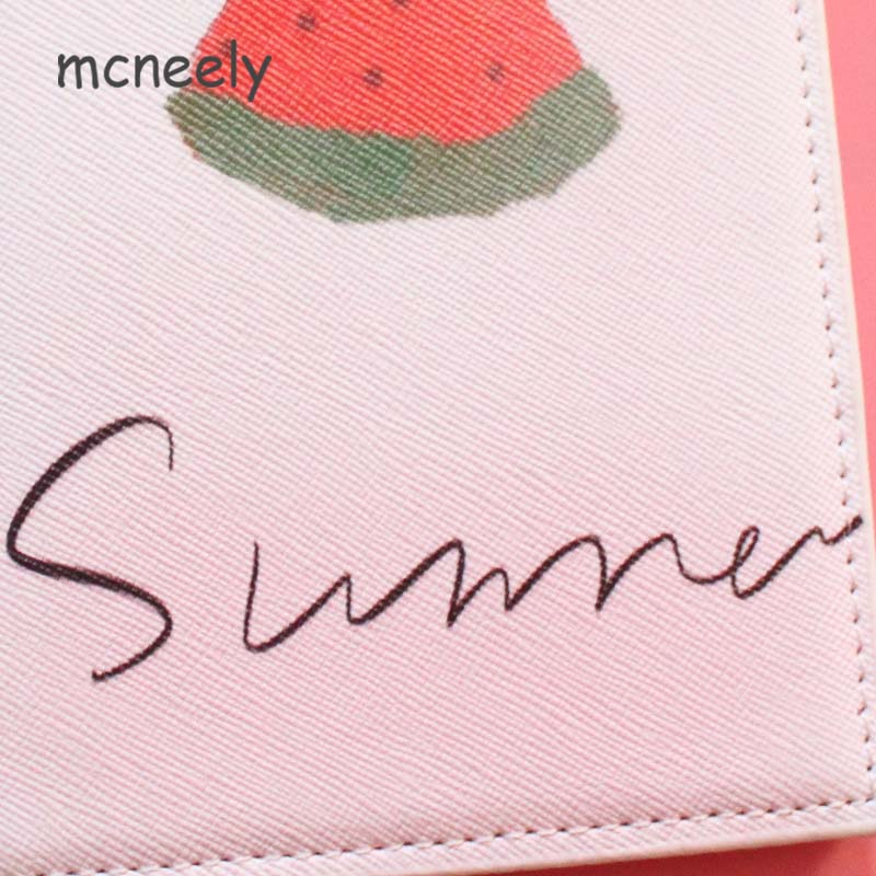 Slices Of Red Girl Heart Watermelon Blocking Print Passport Holder Cover Case Travel Luggage Passport Wallet Card Holder Made With Leather For Men Women Kids Family