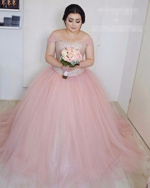 US $198.0 |Blush Pink Plus Size Wedding Dress Ball Gown Wedding Dress  Crystal Tulle Floor Length Tank Vestido De Novia Bridel Bridal Gown-in  Wedding ...