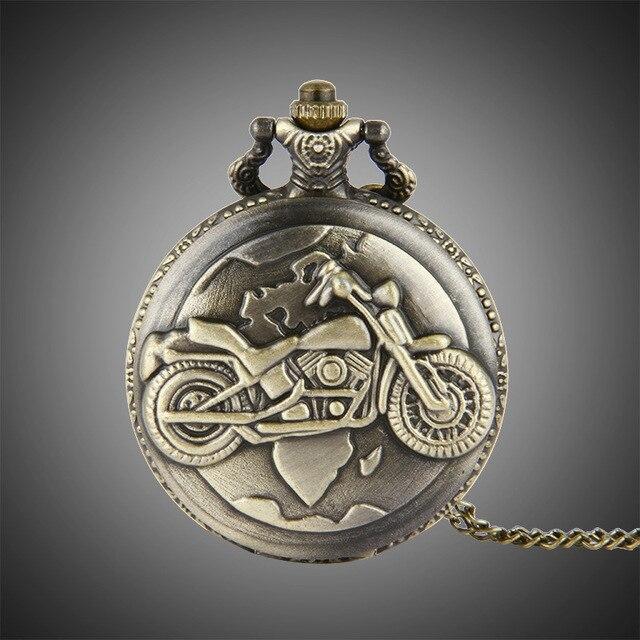 New Bronze Color Pocket Watch Motorcycles Pattern Relogio De Bolso Quartz Watch