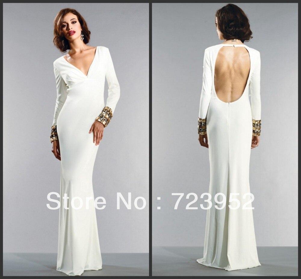 White Long Sleeve Floor Length Fitted Dress