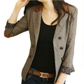 2016 Fashion Women Plaid Vintage Formal Check Blazer Jacket Coat Lady Office Blaser Cape Work Suit Veste Femme Manche Longue UK