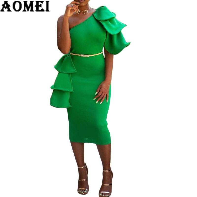 2019 Для женщин облегающее платье на одно плечо с открытой спиной Зеленый с оборками сексуальный женский клуб одежда ужин вечернее Тонкий тун...