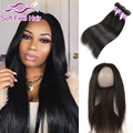 Human Hair 360 Frontal With Bundles Straight Hair Weave Brazilian Virgin Hair Straight 3 Bundles With Full Lace Frontal Closure