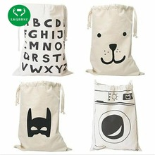 LKQBBSZ Extra large Cotton Canvas Laundry bag Canvas Storage Bag for Toys Cloth Bear Washing machine Batman Letters 8 patterns