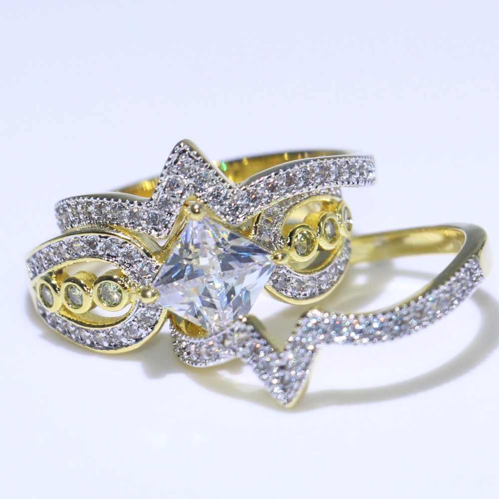 Envío Directo único joyería de moda Vintage 925 plata y oro relleno princesa corte 5A Zirconia CZ Oficina mujer boda búho anillo de banda
