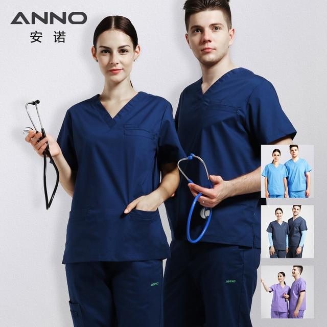 f917803aee5 Elasticity Cotton Spandex Body Nurse Uniform For Women Men Medical Suit  Scrubs Suit Dental Hospital Set Work Wear Nursing Scrubs