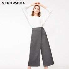 Vero Moda New Womens Decorative Leisure Waist Buckle Wide leg Casual Capri Pants
