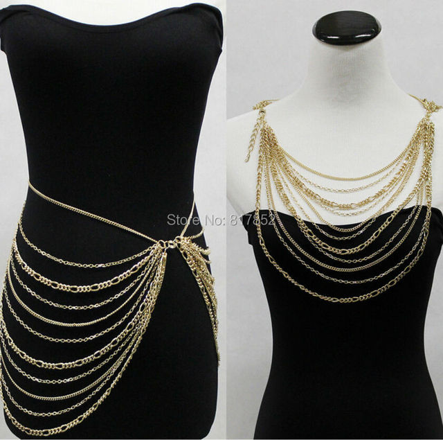 HOT SELLING New Style BY458 Women Gold Plated Chains Multi layers Necklace Chains Body Waist Chains Jewelry