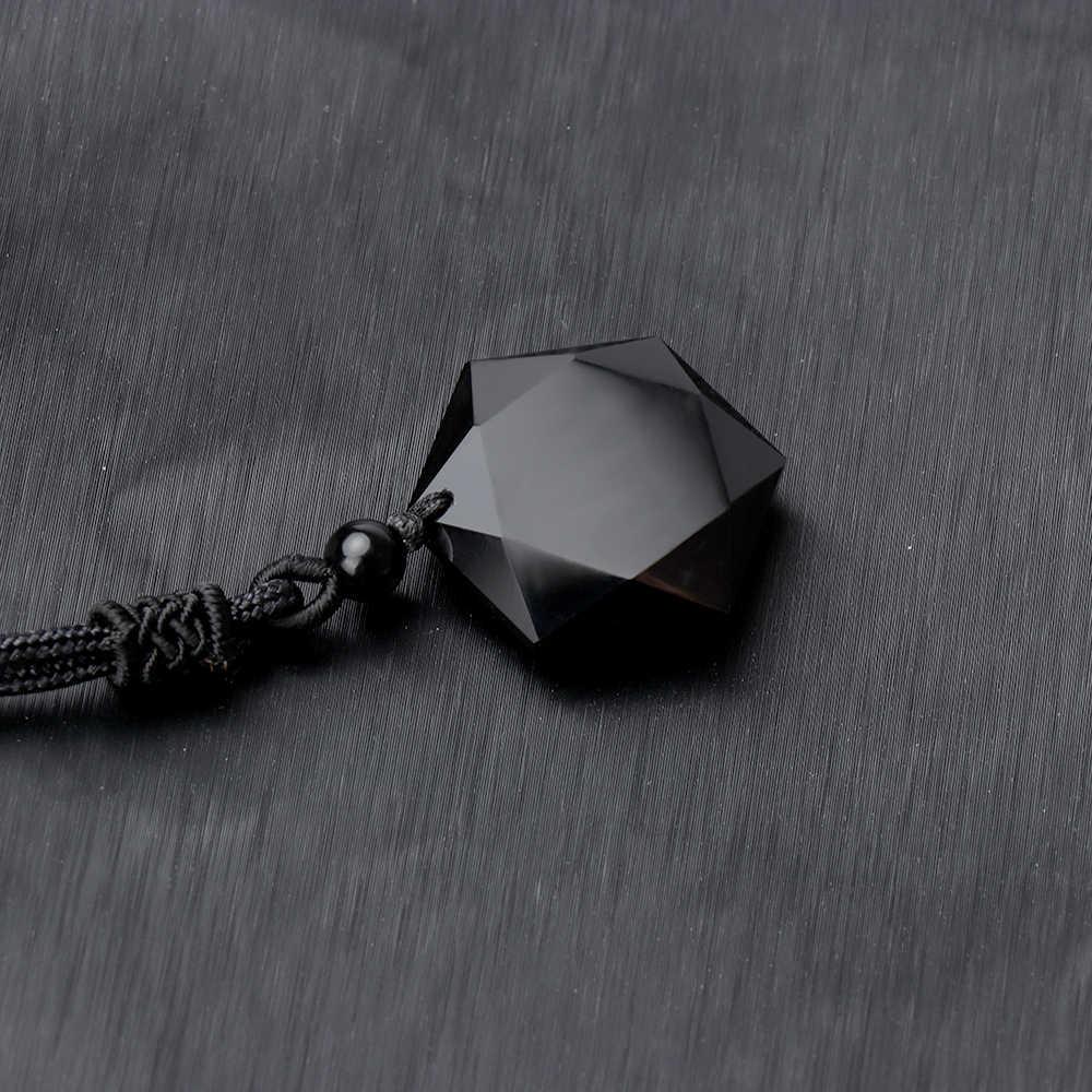 1 Pcs Novo Preto Obsidian Pedra Natural Pingente Colares Para As Mulheres Homens Cúbica Hexagrama Camisola Colar Amuletos Talismãs Jóias