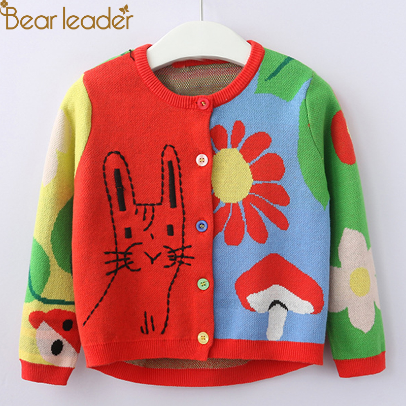 Bear Leader Girls Sweater 2018 Autumn New Fashion Kids Clothes Long Sleeve Animal Flowers Printing Design for Girls Clothes